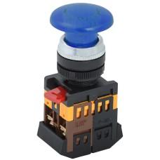 Синя кнопка з підсвіткою AELA22 «Грибок» Ø22мм неон/220В 1з+1р IEK