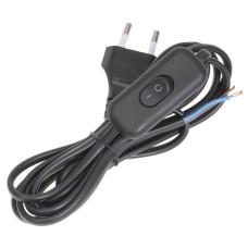 Обпресований шнур IEK УШ-1КВ чорний з вилкою та з вбудованим вимикачем 2х0,75/2метра (WUP20-02-K02)