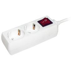 Подовжувач IEK У02К на 2 місця 2Р+РЕ/5 метров 3х1мм² 16А/250В (WYP10-16-02-02-ZK-N)