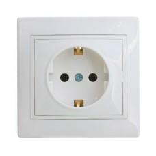 Розетка з заземленням біла РВсб16-3-Fi-W АскоУкрем