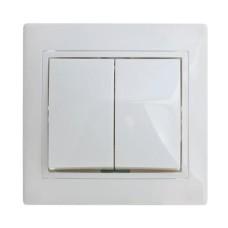 Вимикач двоклавішний білий ВВсб10-2-0-Fi-W АскоУкрем