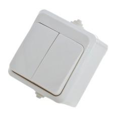 Вимикач накладний двоклавішний білий  В310-2-ІР44 АскоУкрем