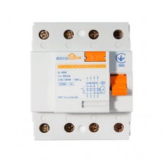 Пристрій захисного відключення ПЗВ 3+Нп/40А/30мА  EcoHome
