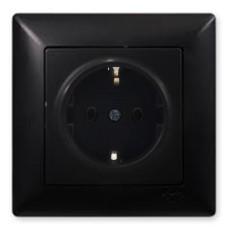 Розетка з заземленням VISAGE (черная)