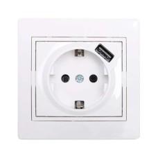 Розетка з заземленням біла з USB MIRA Lezard