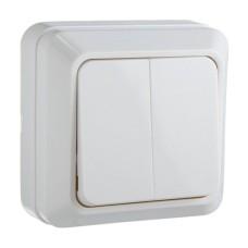 Вимикач накладний двоклавішний білий ВЗ10-2-0-CT-W АскоУкрем