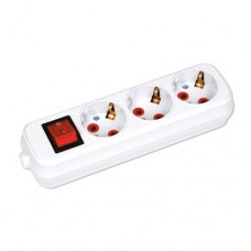 Колодка Horoz 3 розетки з заземленням та вимикачем (200-300-302)