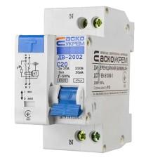 Диференціальний автоматичний вимикач ДВ-2002 20А 30мА 1+Нп. АскоУкрем