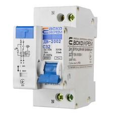 Диференціальний автоматичний вимикач ДВ-2002 32А 30мА 1+Нп. АскоУкрем