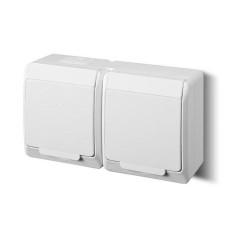 Розетка з кришкою подвійна Elektro-Plast Hermes IP44 з з/к 16А біла (0325-02)
