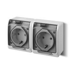 Розетка з кришкою подвійна Elektro-Plast Hermes IP44 з з/к 16А димчата (0325-01)