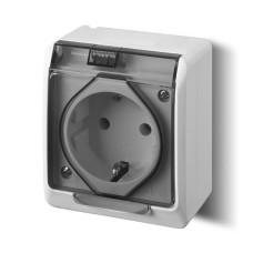 Розетка з кришкою Elektro-Plast Hermes IP44 з з/к 16А димчата (0324-01)