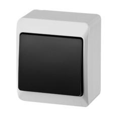 Вимикач 1-клавішний Elektro-Plast Hermes IP44 10А димчастий (0331-01)