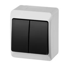 Вимикач 2-клавішний Elektro-Plast Hermes IP44 10А димчастий (0332-01)