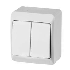 Вимикач 2-клавішний Elektro-Plast Hermes IP44 10А білий (0332-02)