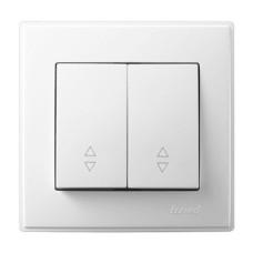 2-клавішний вимикач прохідний Lezard LESYA 10A Білий (705-0202-106)