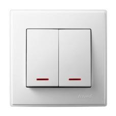 2-клавішний вимикач Lezard LESYA з підсвіткою Білий (705-0202-112)