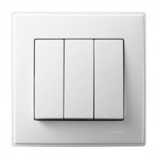 Вимикач 3-клавішний білий LESYA Lezard 705-0202-109