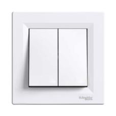 Вимикач двоклавішний прохідний білий Asfora EPH0600121