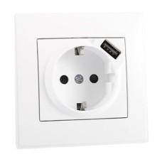 Розетка з заземленням + USB біла LESYA Lezard 705-0202-181