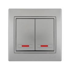 Вимикач 2-клавішний з підсвіткою сірий метал MIRA Lezard 701-1010-112