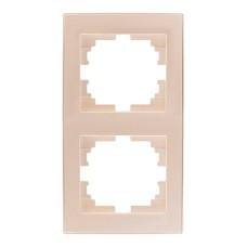 Рамка 2-на вертикальна перлинно-білий перламутр з боковою вставкою RAIN Lezard 703-3030-152