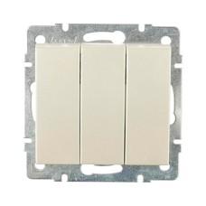 Вимикач 3-клавішний перлинно-білий перламутр RAIN Lezard 703-3088-109