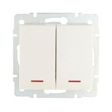 Вимикач 2-клавішний з підсвіткою перлинно-білий перламутр RAIN Lezard 703-3088-112