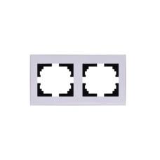 Подвійна рамка Lezard Rain горизонтальна Біла з бічною вставкою (703-0202-147)