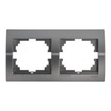 Рамка 2-на горизонтальна темно-сірий металік DERIY Lezard 702-2900-147