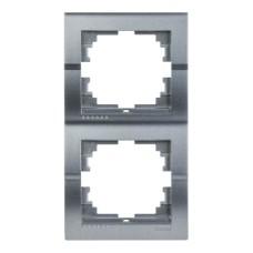 Рамка 2-на вертикальна темно-сірий металік DERIY Lezard 702-2900-152