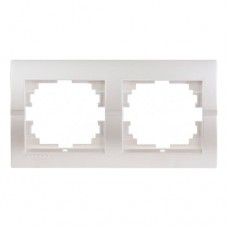 Рамка 2-на горизонтальна перлинно-білий металік DERIY Lezard 702-3000-147
