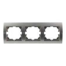 Рамка 3-на горизонтальна темно-сірий металік DERIY Lezard