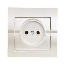 Розетка без заземлення перлинно-білий металік DERIY Lezard 702-3030-121B