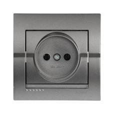 Розетка без заземлення темно-сірий металік DERIY Lezard 702-2929-121B