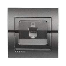 Розетка comp одинарна RJ45 темно-сірий металік DERIY Lezard