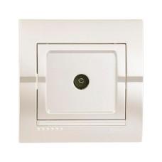 Розетка телевізійна прохідна перлинно-білий металік DERIY Lezard 702-3030-129
