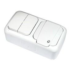 Вимикач 2-х клавішний і розетка із заземленням VIKO Palmiye (90555482)