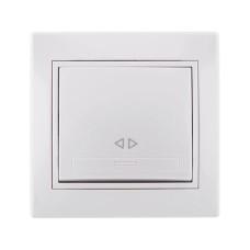 Вимикач проміжний білий з білою вставкою MIRA Lezard 701-0202-107