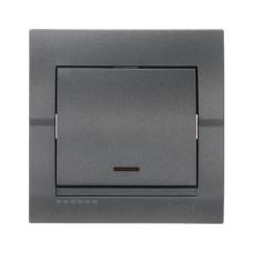 Вимикач з підсвіткою темно-сірий металік DERIY Lezard 702-2929-111