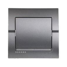 Вимикач 1-клавішний темно-сірий металік DERIY Lezard 702-2929-100