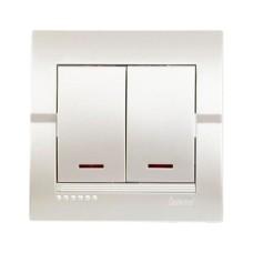 Вимикач 2-клавішний з підсвіткою перлинно-білий металік DERIY Lezard 702-3030-112
