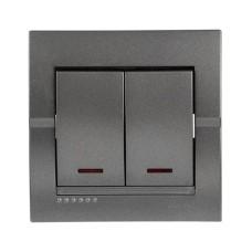 Вимикач 2-клавішний з підсвіткою темно-сірий металік DERIY Lezard 702-2929-112