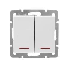 2-клавішний вимикач Lezard Rain з підсвічуванням 10A Білий (703-0288-112)