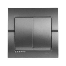 Вимикач 2-клавішний темно-сірий металік DERIY Lezard 702-2929-101