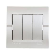 Вимикач 3-клавішний перлинно-білий металік DERIY Lezard 702-3030-109
