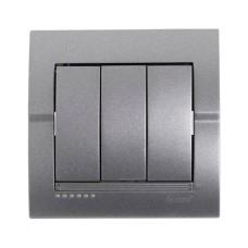 Вимикач 3-клавішний темно-сірий металік DERIY Lezard 702-2929-109