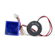 Цифровий вольтметр+амперметр ED16-22 FVAD синій 25-500 В, 0-100А АскоУкрем