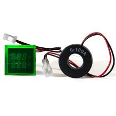 Цифровий вольтметр+амперметр ED16-22 FVAD зелений 25-500 В, 0-100А АскоУкрем