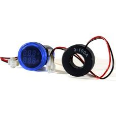 Цифровий вольтметр+амперметр ED16-22 VAD синій 25-500 В, 0-100А АскоУкрем